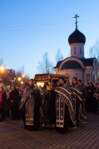 Патриаршее служение в храмовом комплексе прп.Сергия Радонежского на Рязанке. 19 апреля 2015 года.